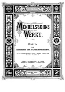 Piano Sextet in D Major, Op.110: Full score by Felix Mendelssohn-Bartholdy