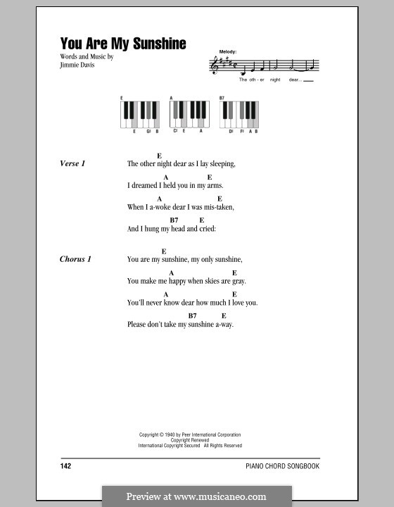 Guitar u00bb Guitar Chords You Are My Sunshine - Music Sheets, Tablature, Chords and Lyrics