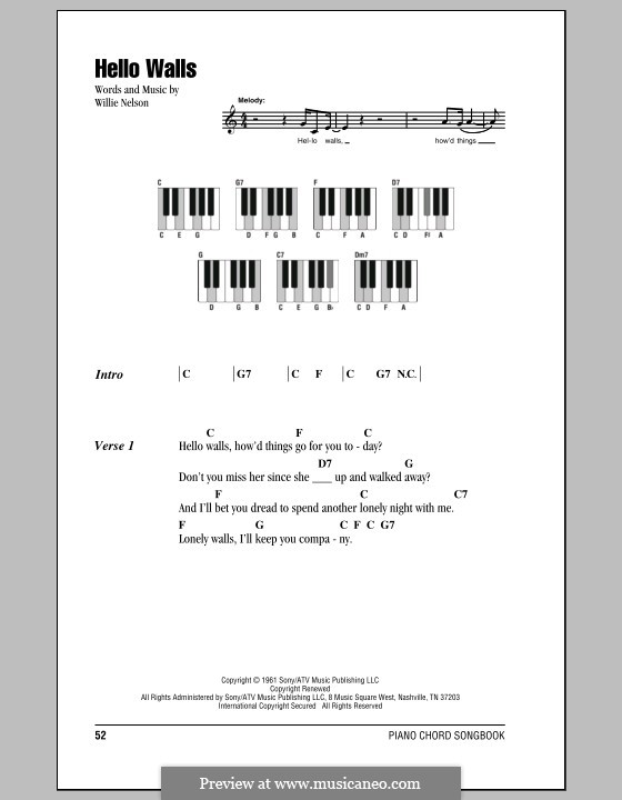 Hello Walls (Faron Young) by W. Nelson - sheet music on MusicaNeo