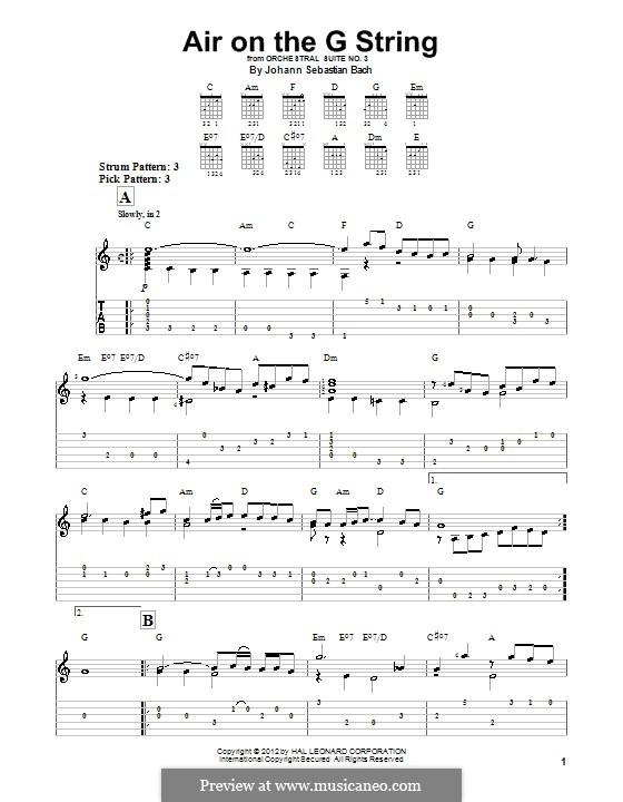 Aria: Version for guitar (with tab) by Johann Sebastian Bach