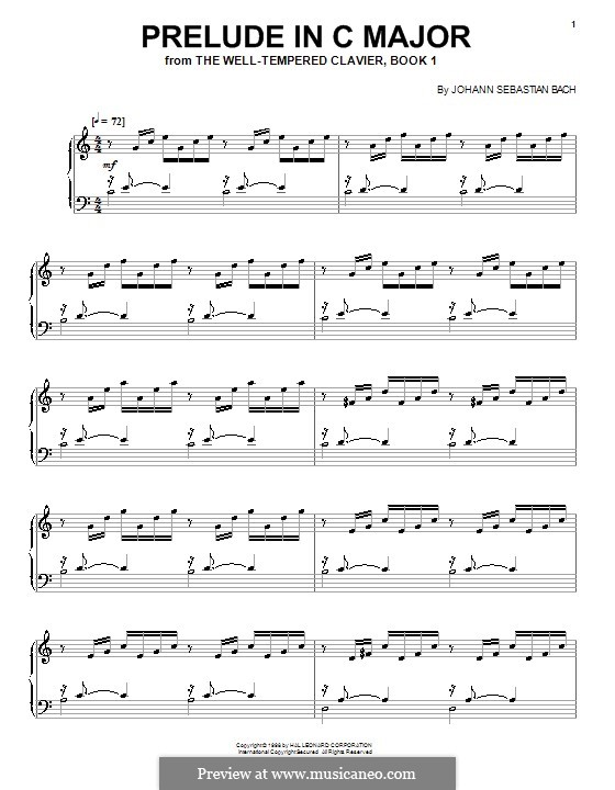 Prelude and Fugue No.1 in C Major, BWV 846: Prelude, for piano by Johann Sebastian Bach
