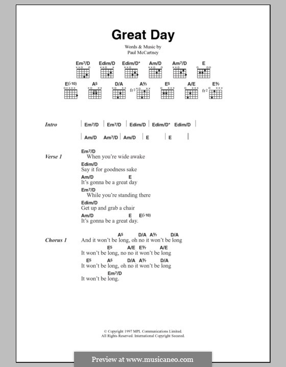 Great Day: Lyrics and chords by Paul McCartney