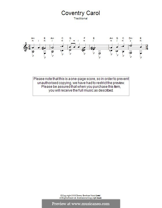 Coventry Carol: For guitar by folklore