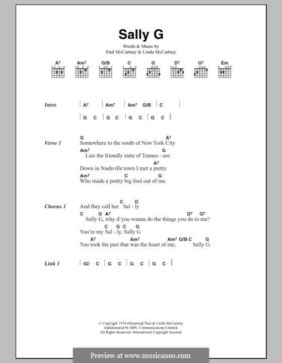 Sally G (Wings): Lyrics and chords by Linda McCartney, Paul McCartney