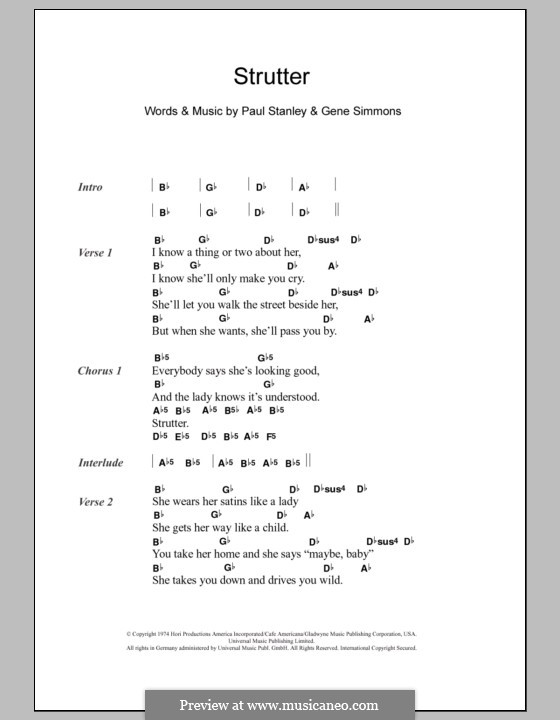 Strutter (KISS): Lyrics and chords by Gene Simmons, Paul Stanley