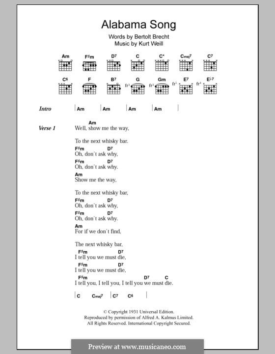 Alabama Song (The Doors): Lyrics and chords by Kurt Weill