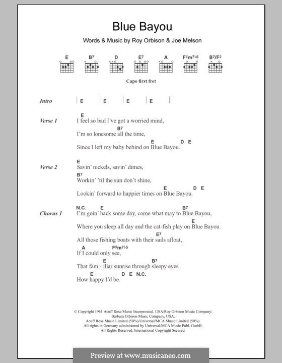 Blue Bayou (Linda Ronstadt) by J. Melson - sheet music on