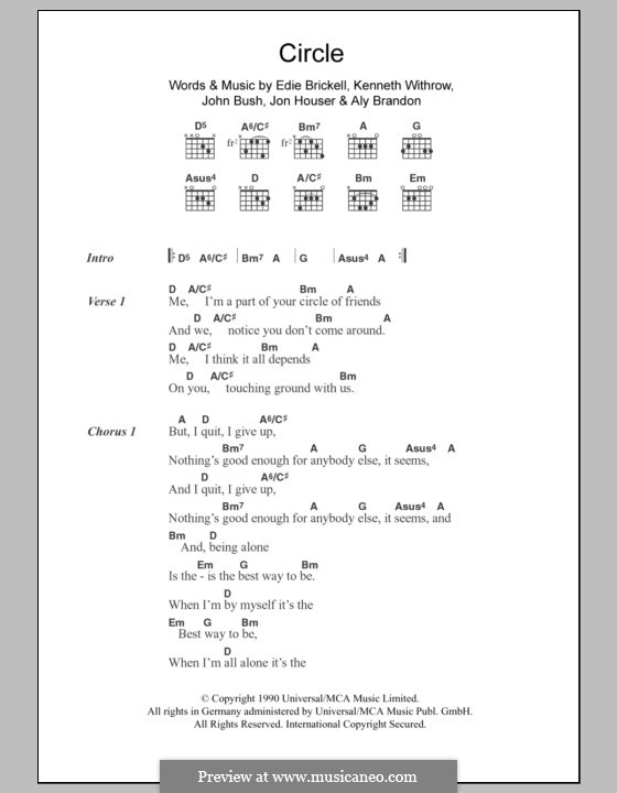 Circle: Lyrics and chords by Aly Brandon, Edie Brickell, John Bush, Jon Houser, Kenneth Withrow