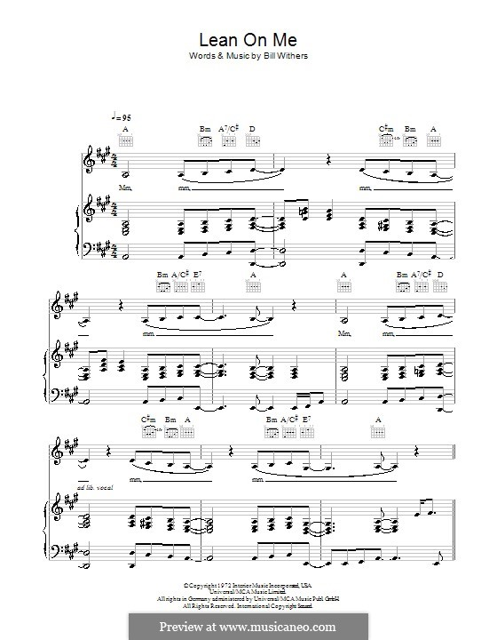 Lean on Me by B. Withers - sheet music on MusicaNeo