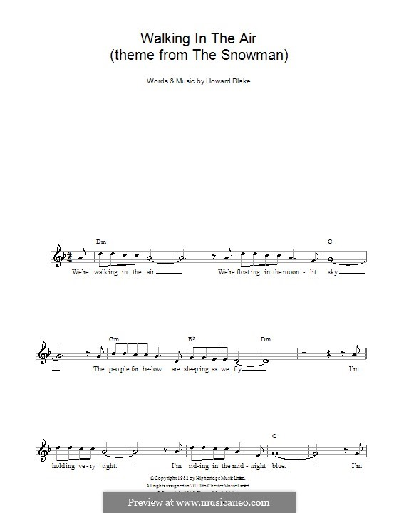 Walking in the Air: Melody line, lyrics and chords by Howard Blake