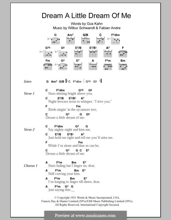 Ukulele ukulele tabs dream a little dream : Dream a Little Dream of Me (Louis Armstrong) by F. Andre, W ...