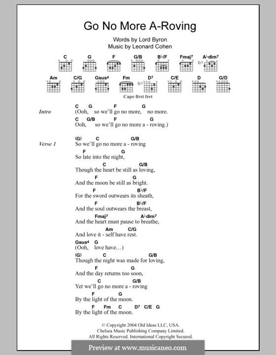 Go No More A-Roving: Lyrics and chords by Leonard Cohen