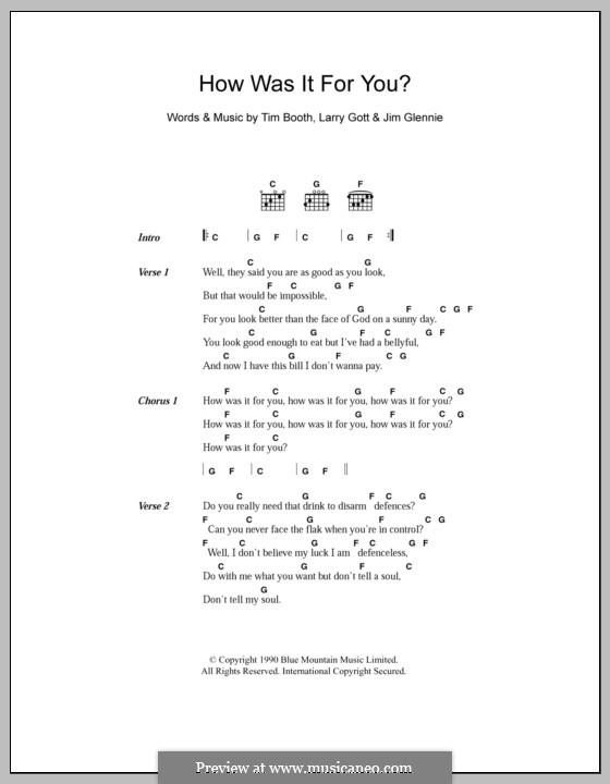 How Was It for You? (James): Lyrics and chords by Jim Glennie, Lawrence Gott, Tim Booth
