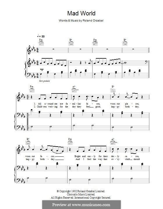 Piano : mad world piano tabs Mad World Piano Tabs in Mad World Pianou201a Mad Worldu201a Piano
