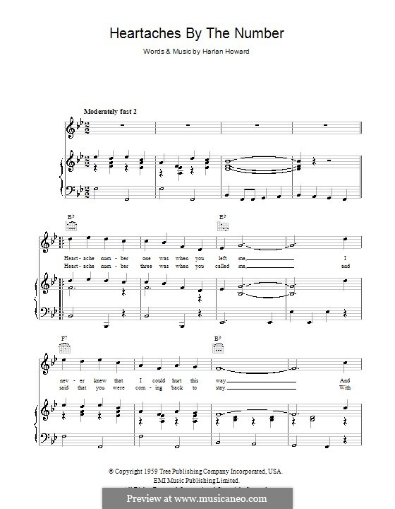 Heartaches By the Number: For voice and piano (or guitar) by Harlan Howard