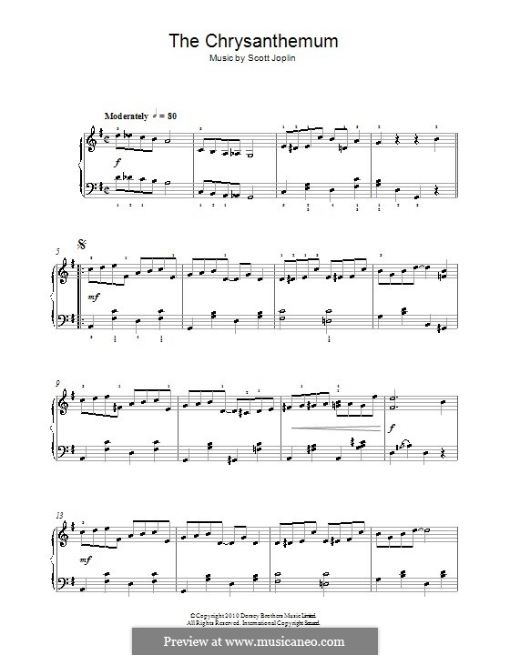The Chrysanthemum: For easy piano by Scott Joplin