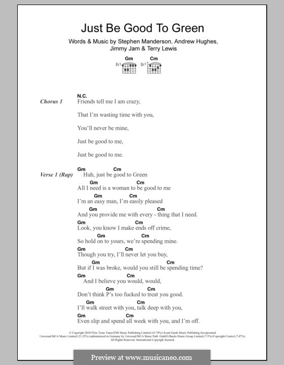 Just Be Good To Green (Professor Green feat. Lily Allen): Lyrics and chords by Andrew Hughes, Jimmy Jam, Stephen Manderson, Terry Lewis