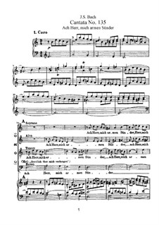 Ach Herr, mich armen Sünder (Ah, Lord, me Poor Sinner), BWV 135: Piano-vocal score by Johann Sebastian Bach