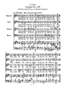 Ich lebe, mein Herze, zu deinem Ergötzen, BWV 145: Piano-vocal score by Johann Sebastian Bach