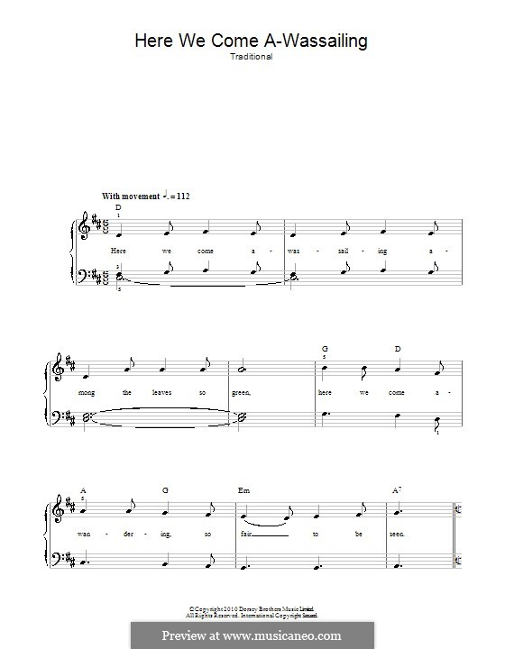 Here We Come a-wassailing: For voice and piano (or guitar) by folklore