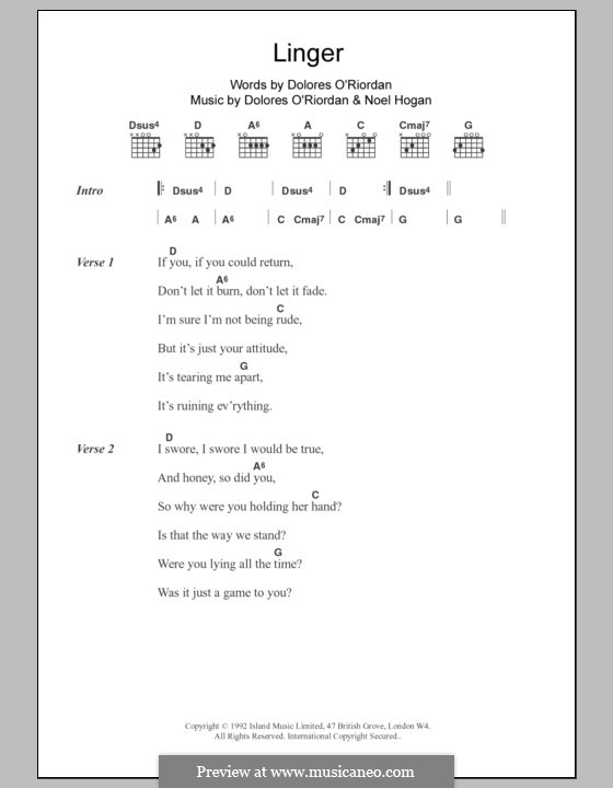 Guitar guitar chords zombie : Linger (The Cranberries) by D. O'Riordan, N. Hogan on MusicaNeo