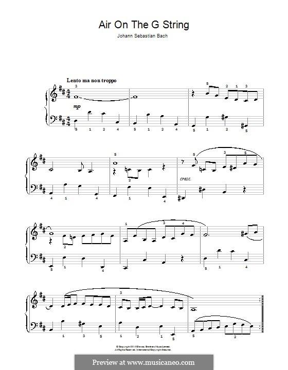 Aria: Version for easy piano by Johann Sebastian Bach