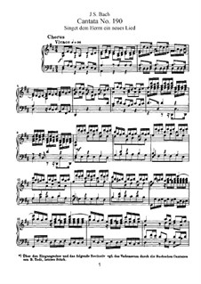 Singet dem Herrn ein neues Lied, BWV 190: Piano-vocal score by Johann Sebastian Bach