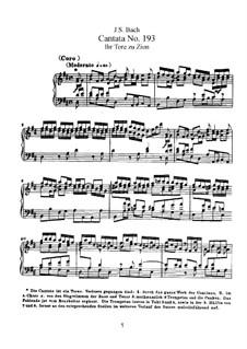 Ihr Tore zu Zion, BWV 193: Piano-vocal score by Johann Sebastian Bach