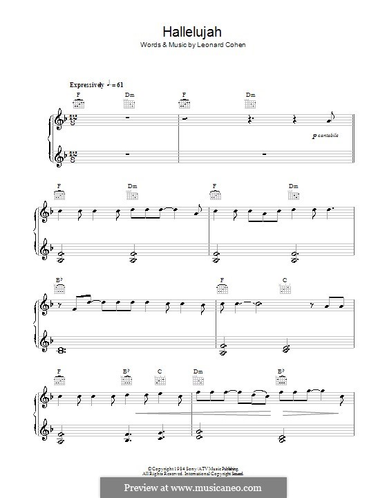 Hallelujah, for Piano: Version for easy piano (with chords) by Leonard Cohen