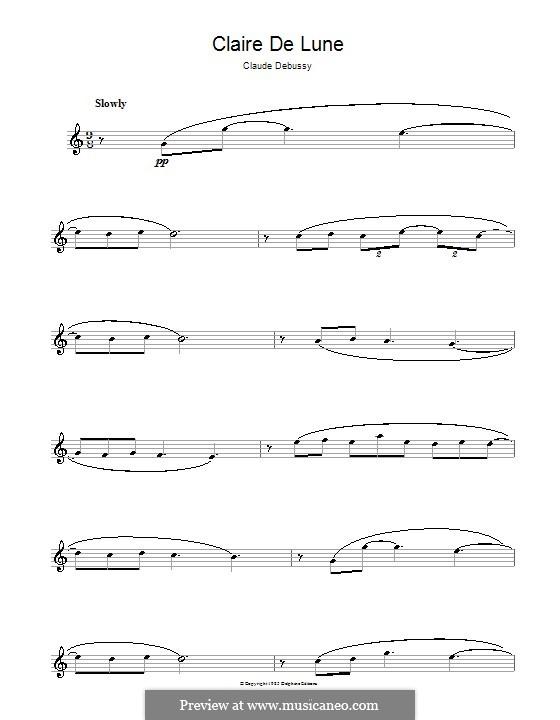 No.3 Clair de lune: For flute by Claude Debussy