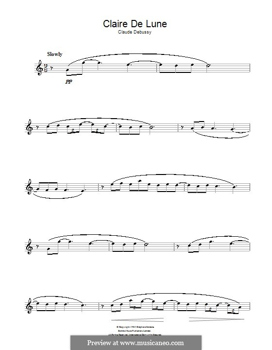 No.3 Clair de lune: For alto saxophone by Claude Debussy