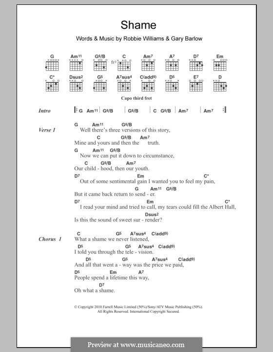 Shame: Lyrics and chords by Gary Barlow, Robbie Williams