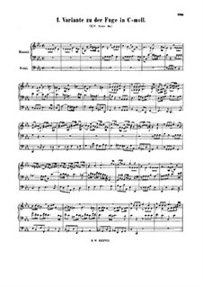 Fugue in C Minor, BWV 574a: Fugue in C Minor by Johann Sebastian Bach