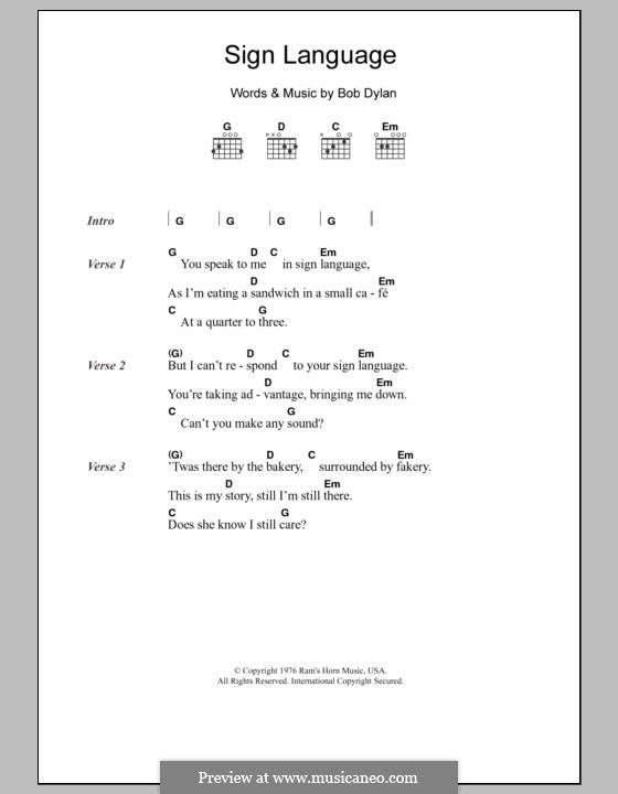 Sign Language by B. Dylan - sheet music on MusicaNeo