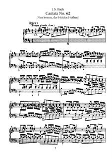 Nun komm, der Heiden Heiland, BWV 62: Piano-vocal score by Johann Sebastian Bach