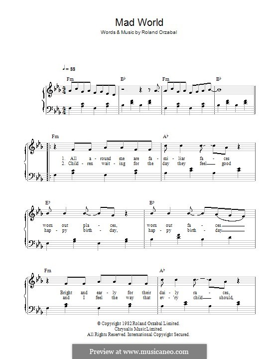 Contemporary Mad World Chords Image Collection - Guitar Ukulele ...