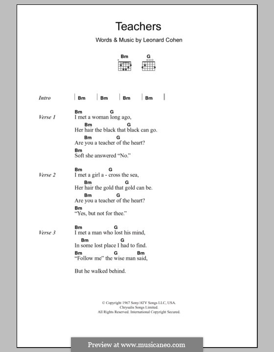 Teachers: Lyrics and chords by Leonard Cohen