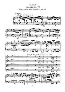 Herr, wie du willt, so schicks mit mir, BWV 73: Piano-vocal score by Johann Sebastian Bach