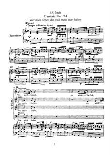 Wer mich liebet, der wird mein Wort halten, BWV 74: Piano-vocal score by Johann Sebastian Bach