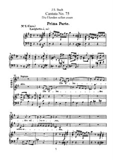 Die Elenden sollen essen, BWV 75: Arrangement for voices and piano by Johann Sebastian Bach