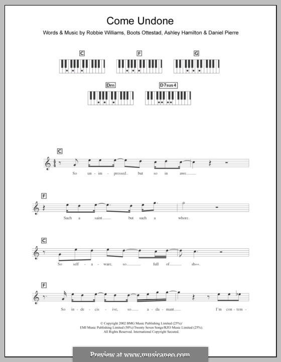 Come Undone: For keyboard by Ashley Hamilton, Boots Ottestad, Robbie Williams