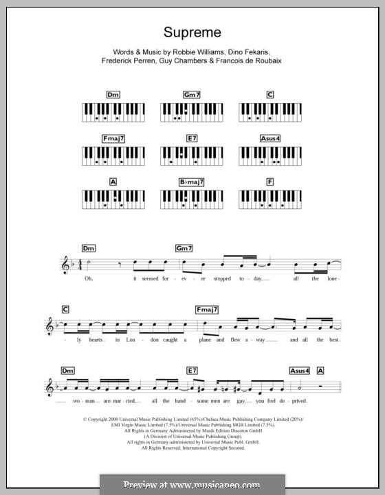 Supreme: For keyboard by Dino Fekaris, Francois de Roubaix, Freddie Perren, Guy Chambers, Robbie Williams