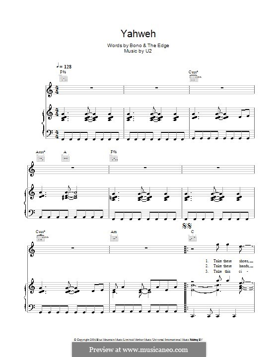 Yahweh: For voice and piano (or guitar) by U2