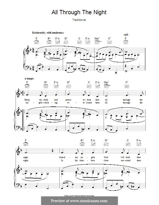 All Through the Night: For voice and piano or guitar (F Major) by folklore