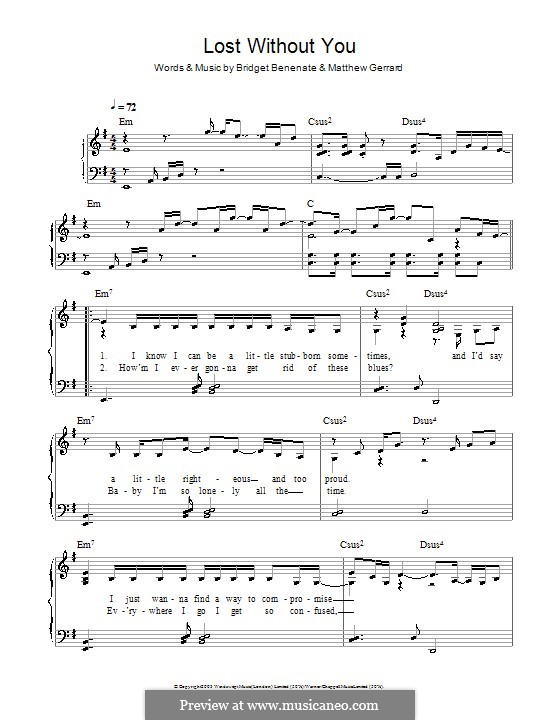 Piano without you piano chords : Lost without You (Delta Goodrem) by B. Benenate, M. Gerrard on ...