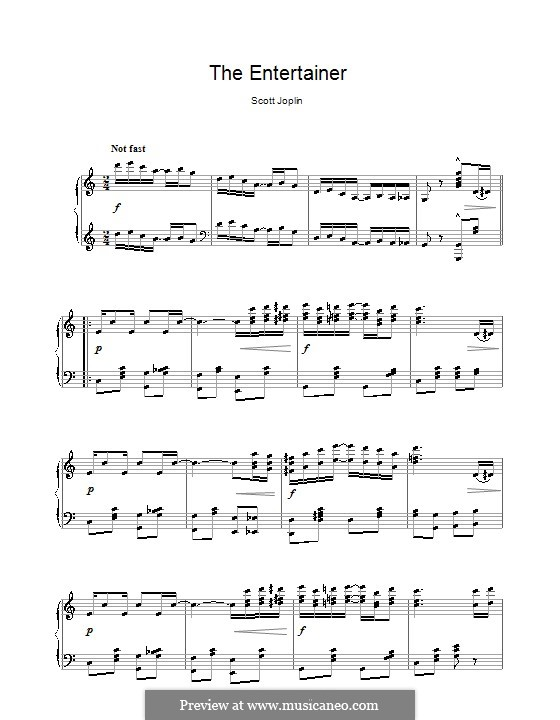 The Entertainer, for Piano: High quality sheet music by Scott Joplin