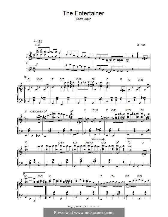 The Entertainer, for Piano: With chords by Scott Joplin