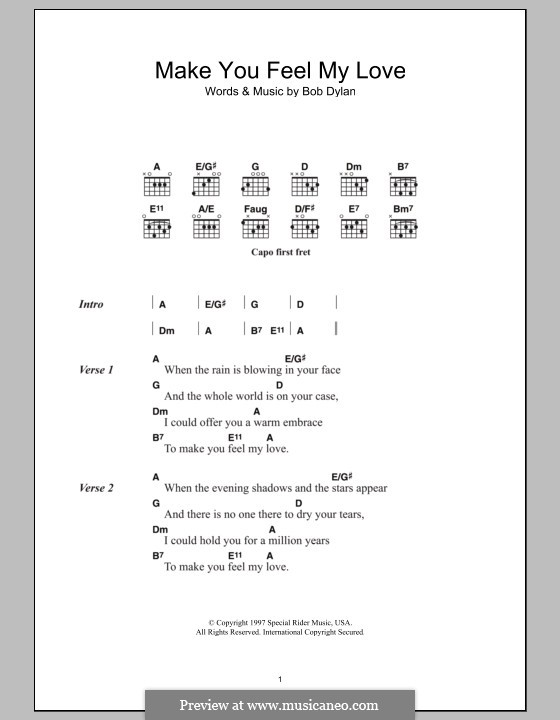 Make You Feel My Love: Lyrics and chords by Bob Dylan