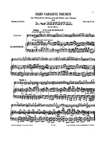 Ten Themes with Variations for Flute (or Violin) and Piano, Op.107: Book V by Ludwig van Beethoven