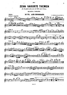 Ten Themes with Variations for Flute (or Violin) and Piano, Op.107: Book II No.6-10 – solo part by Ludwig van Beethoven
